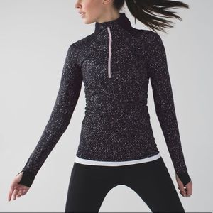Lululemon Go The Distance 1/2 Zip Black Speckle